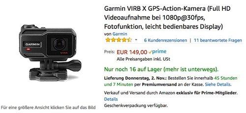 Garmin VIRB X GPS-Action-Kamera - jetzt 20% billiger