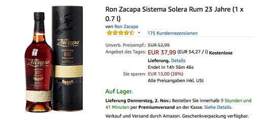 Ron Zacapa Sistema Solera Rum 23 Jahre (1 x 0.7 l) - jetzt 11% billiger