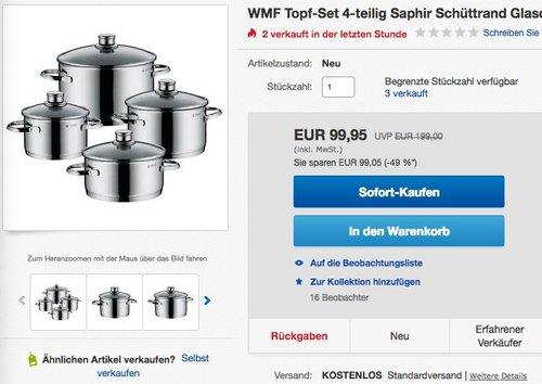 WMF Topf-Set 4-teilig Saphir - jetzt 8% billiger
