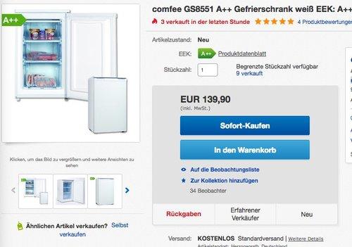 Comfee GS 8551 Gefrierschrank - jetzt 22% billiger