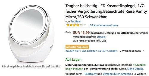 LED Kosmetikspiegel, tragbar - jetzt 31% billiger
