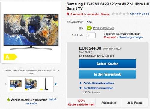 Samsung UE-49MU6179 123cm 49 Zoll Ultra HD 4K LED Fernseher - jetzt 7% billiger