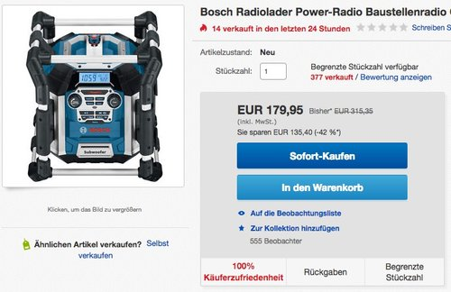 Bosch Baustellenradio GML 50 - jetzt 5% billiger