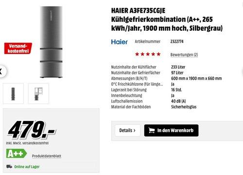 HAIER A3FE735CGJE Kühlgefrierkombination - jetzt 13% billiger