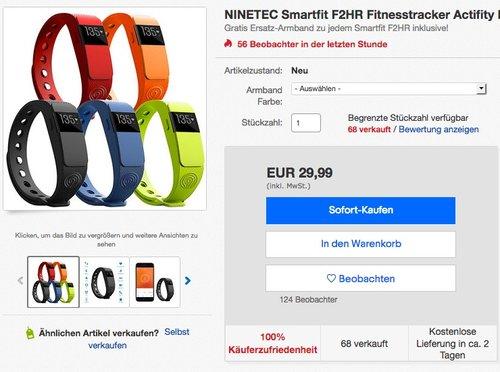 NINETEC Smartfit F2HR Fitnesstracker - jetzt 40% billiger
