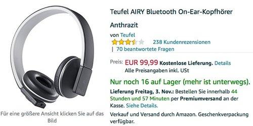 Teufel AIRY Bluetooth On-Ear-Kopfhörer Anthrazit - jetzt 16% billiger