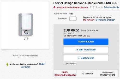 Steinel L 610 LED Außenleuchte - jetzt 37% billiger