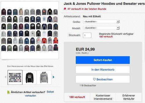 Jack & Jones Pullover Hoodies und Sweater - jetzt 11% billiger