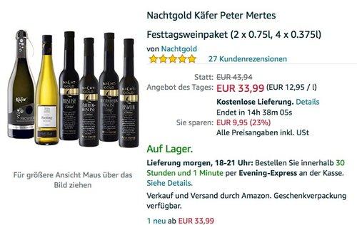 Nachtgold Käfer Peter Mertes Festtagsweinpaket (2 x 0.75l, 4 x 0.375l) - jetzt 23% billiger