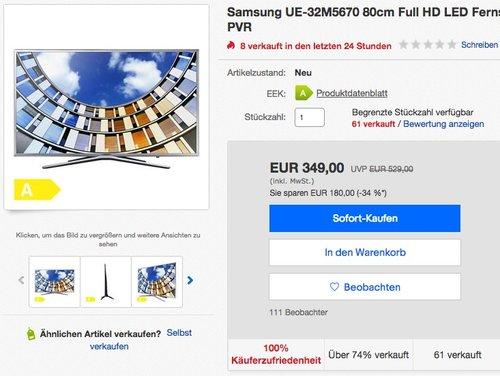 Samsung UE-32M5670 80cm Full HD LED Fernseher - jetzt 17% billiger