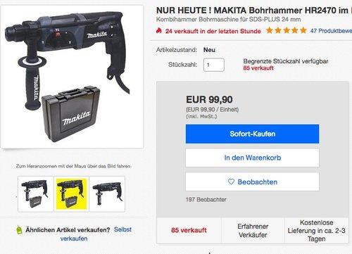 Makita HR 2470 SDS-Plus-Bohrhammer - jetzt 7% billiger