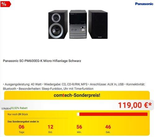 Panasonic SC-PM600EG-K Micro Hifianlage - jetzt 14% billiger
