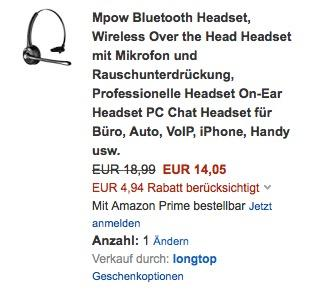 Mpow Bluetooth Headset - jetzt 26% billiger