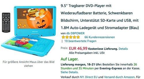 9.5? Tragbarer DVD-Player - jetzt 50% billiger