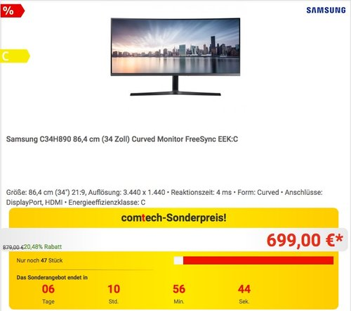 Samsung C34H890 (34 Zoll) LED Curved Monitor  - jetzt 12% billiger