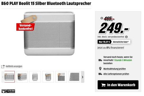 B&O PLAY Beolit 15 Silber Bluetooth Lautsprecher - jetzt 43% billiger