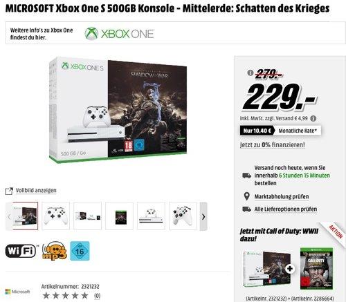 MICROSOFT Xbox One S 500GB Konsole - Mittelerde: Schatten des Krieges - jetzt 15% billiger