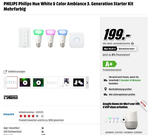 Philips Hue White and Color Ambiance Starter Kit E27  - jetzt 24% billiger
