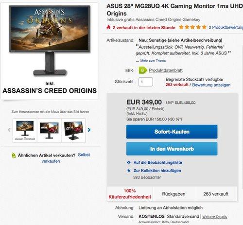 "ASUS 28"" MG28UQ 4K Gaming Monitor - jetzt 20% billiger"