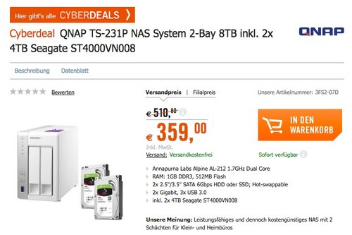 QNAP TS-231P 8TB (2 x 4TB SGT-IW) 2 Bay Desktop NAS Einheit - jetzt 14% billiger