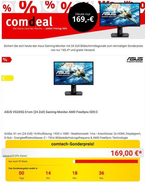 ASUS VG245Q 61cm (24 Zoll) Gaming-Monitor - jetzt 15% billiger