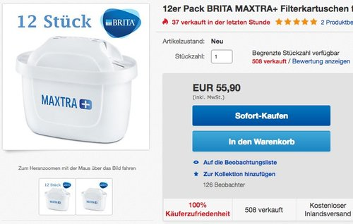 Brita Filterkartuschen Maxtra+ 12er Pack - jetzt 27% billiger