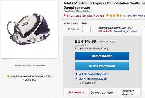 Tefal GV 8340 Pro Express Dampfstation - jetzt 12% billiger