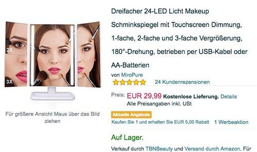Dreifacher 24-LED Licht Makeup Schminkspiegel mit Touchscreen Dimmung - jetzt 33% billiger