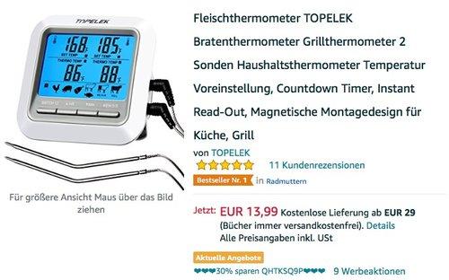Fleischthermometer TOPELEK Bratenthermometer Grillthermometer 2 Sonden - jetzt 29% billiger