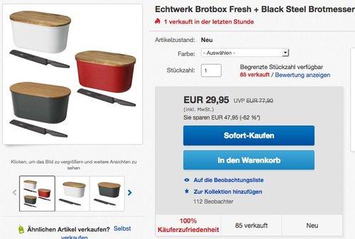 Echtwerk Brotbox Fresh + Black Steel Brotmesser - jetzt 14% billiger