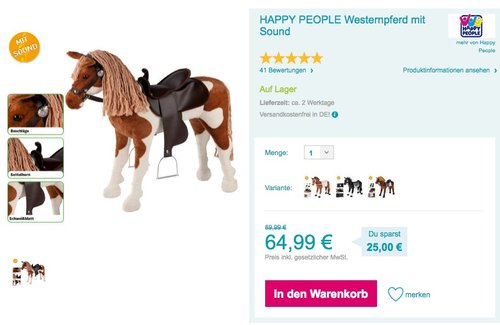 HAPPY PEOPLE Westernpferd mit Sound - jetzt 11% billiger