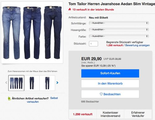 Tom Tailor Herren Jeanshose Aedan - jetzt 24% billiger