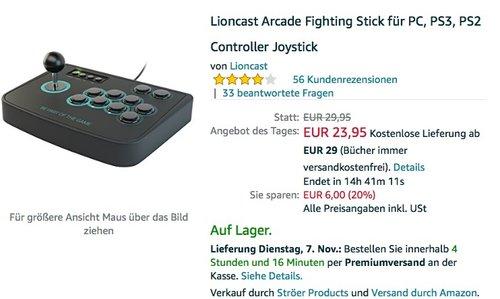 Lioncast Arcade Fighting Stick  - jetzt 19% billiger