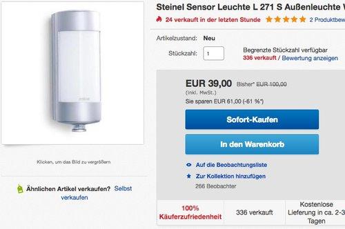 Steinel Sensor Leuchte L 271 S Außenleuchte - jetzt 24% billiger