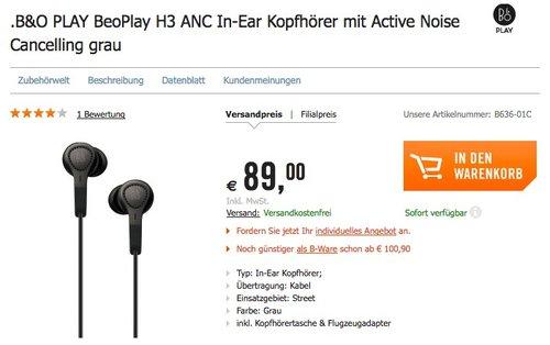 B&O PLAY BeoPlay H3 ANC In-Ear Kopfhörer - jetzt 23% billiger