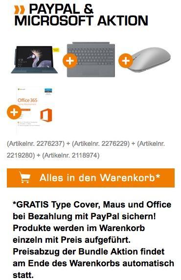 Microsoft Surface Pro 1,24 cm (12,3 Zoll) Notebook, 4 GB RAM, 128 GB SSD Bundle - jetzt 16% billiger