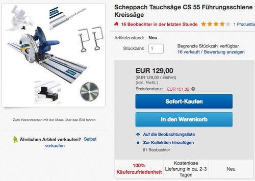 Scheppach CS 55 – Tauchsäge - jetzt 13% billiger