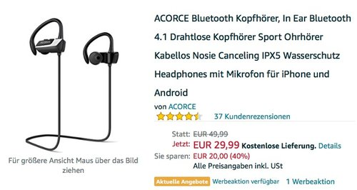 ACORCE Bluetooth In-Ear-Kopfhörer - jetzt 43% billiger
