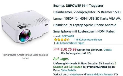 DBPOWER T20 1500 Lumen LCD Mini Projektor  - jetzt 30% billiger