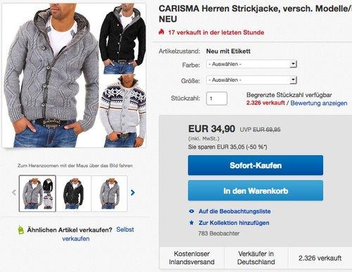 CARISMA Herren Grobstrickjacke - jetzt 30% billiger