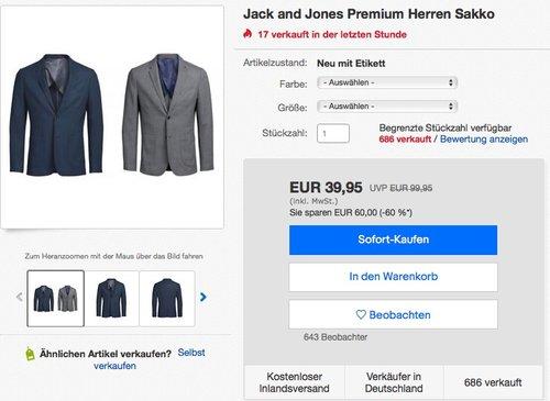 Jack and Jones Premium Herren Sakko - jetzt 19% billiger