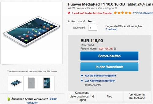 Huawei MediaPad T1 10.0 16 GB Tablet 24,4 cm (9,6 Zoll) - jetzt 11% billiger