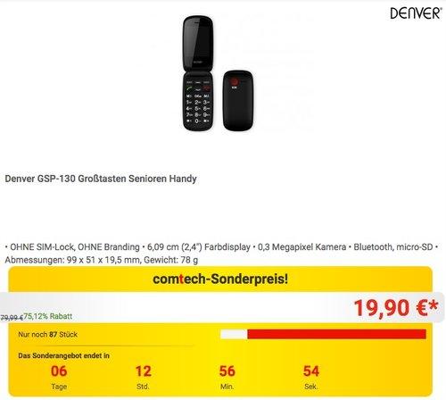 Denver Telefon GSP 130 Seniorenhandy - jetzt 67% billiger