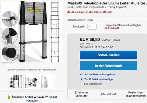 Masko Teleskopleiter 3,80m Leiter - jetzt 14% billiger