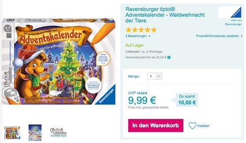 Ravensburger tiptoi 00758 - Adventskalender - Waldweihnacht der Tiere - jetzt 17% billiger