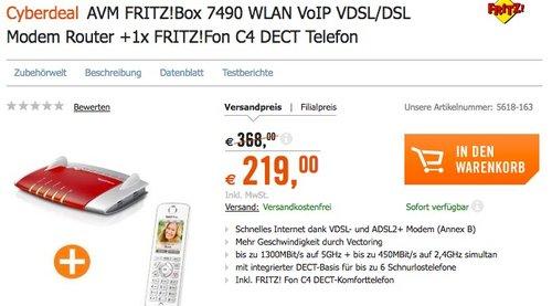 AVM FRITZ!Box 7490 WLAN AC+N Router + AVM FRITZ!Fon C4 Telefon - jetzt 12% billiger