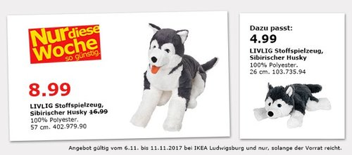 IKEA LVLIG Stoffspielzeug, Sibirischer Husky - jetzt 47% billiger