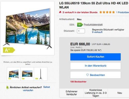 LG 55UJ6519 55 Zoll Fernseher (Triple Tuner, Active HDR) - jetzt 8% billiger