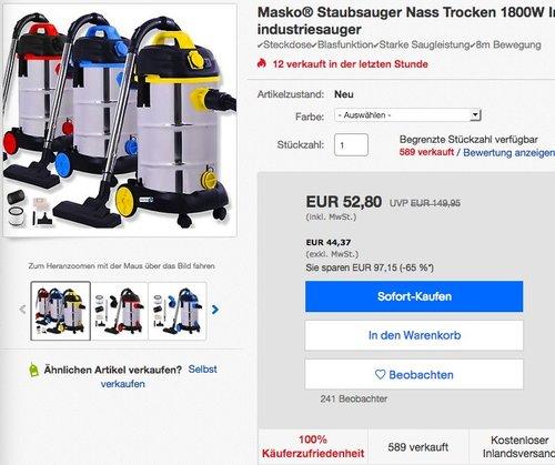 Masko Industrie Nass & Trocken Staubsauger - jetzt 28% billiger