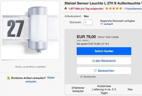Steinel Sensor Leuchte L 270 S Außenleuchte - jetzt 12% billiger